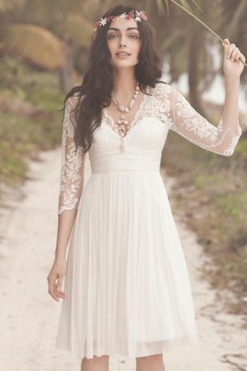 Robe de mariée courte à manche dentelle bohème manche 3-4