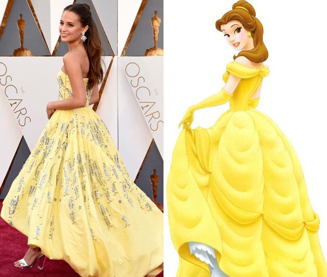 Complètement et trop extrême Alicia Vikander dans robe de princesse comme Belle aux Oscars #SF_02