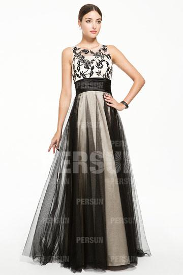 Robe bicolore à broderie noire vintage.jpg