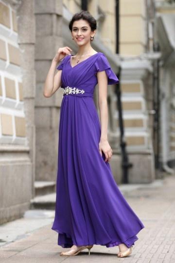 Robe violette soirée encolure V à manche courte