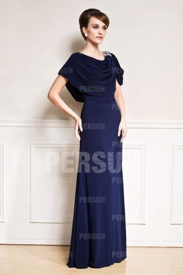 Robe blue nuit longue sol à encolure drapée pour mariage