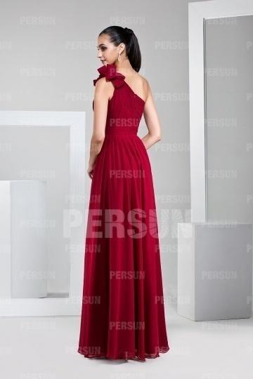Robe cocktail rouge empire et asymétrique longue.jpg