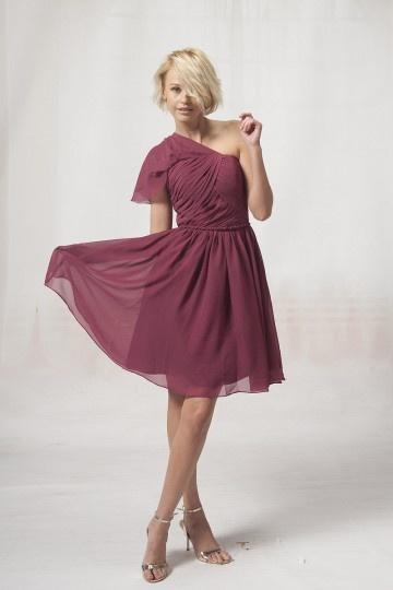 Rouge robe de soirée longue à une épaule avec dos nu Empire.jpg
