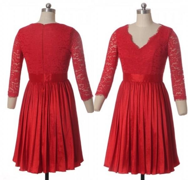 robe-rouge-courte-en-dentelle-dc3a9colletc3a9-v-c3a0-manches-2016