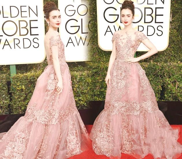 lily-collins-dans-robe-rose-pale-dentelle-vintage