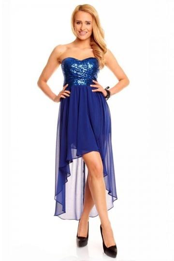 Robe bleu royal pour cocktail mariage courte bustier coeur devant longue derrière